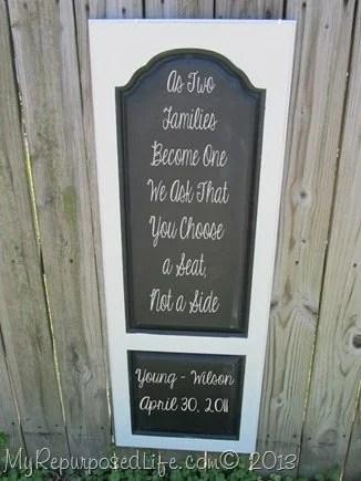 Armoire Door Wedding Chalkboard