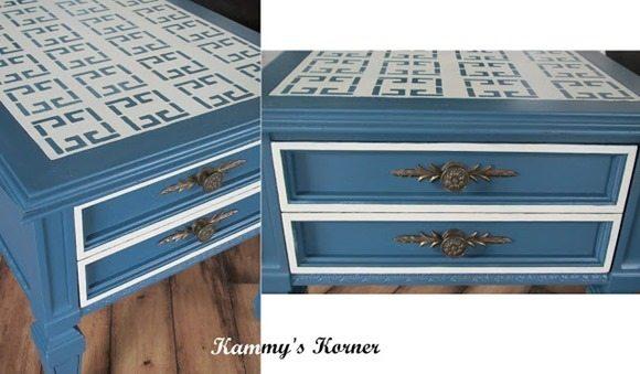 pretty blue end table