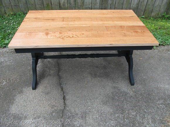 coffee table with hardwood floor top