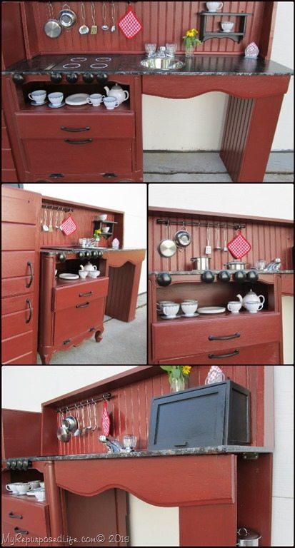 Kid S Play Kitchen Center Repurposed Items