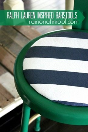 green stools with blue and white stripes