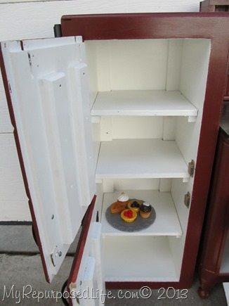 kid's fridge from cabinet