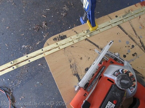 cutting a piano hinge with a jig saw