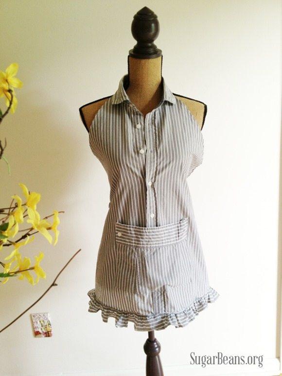 mens shirt into a dainty apron