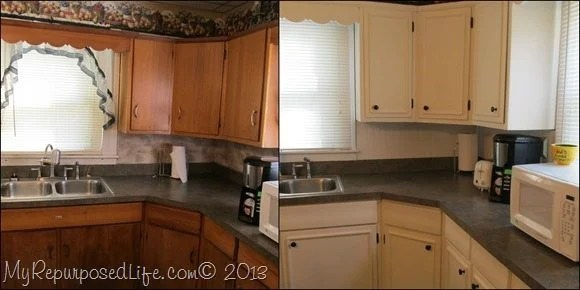 kitchen trim crown molding cabinets updated with paint my repurposed life cabinet makeover and
