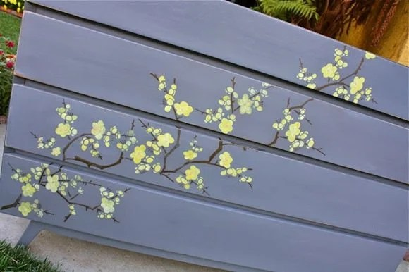 how to stencil cherry blossoms on a dresser