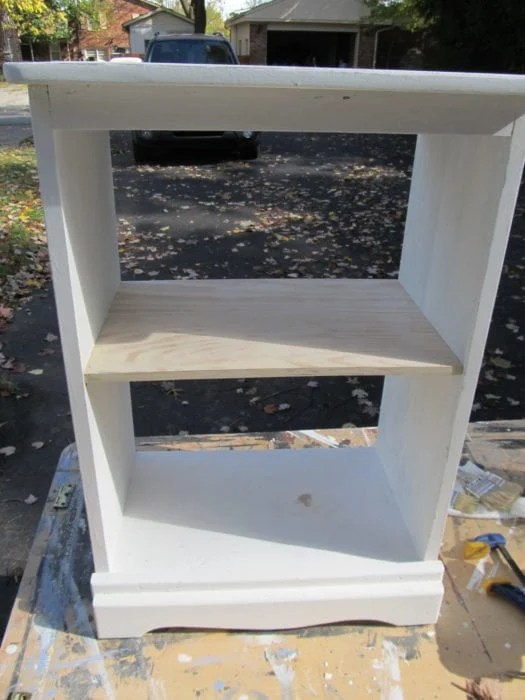 add a shelf to repurposed nightstand
