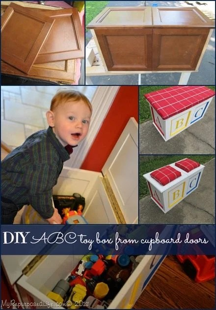 How to make a DIY toy box out of repurposed cabinet doors. Yes, using 10 square doors, I made an awesome project for the kids. Step by step directions. #MyRepurposedLife #repurposed #cabinet #doors #toybox #kids #furniture via @repurposedlife