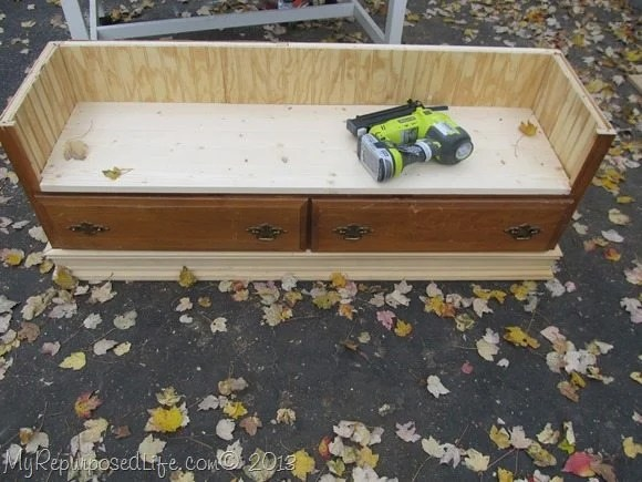 diy dresser made into a bench