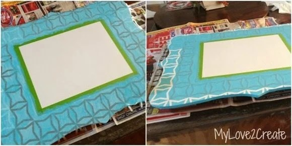 painting a stenciled cut out frame