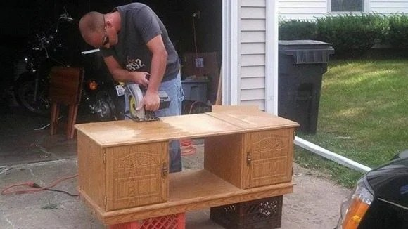 coffee table into kid's laundry center
