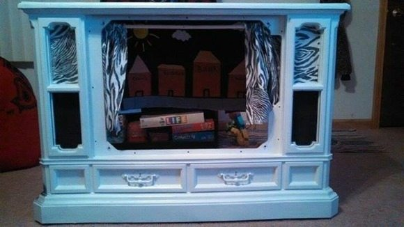 repurposed tv into a puppet theater