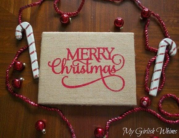 Merry Christmas DIY Burlap Sign