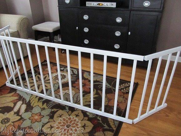 repurposed crib rails dog enclosure (pet gate)