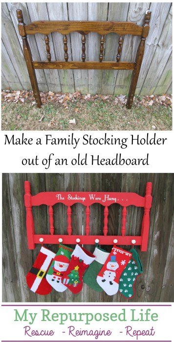 headboard stocking holder MyRepurposedLife