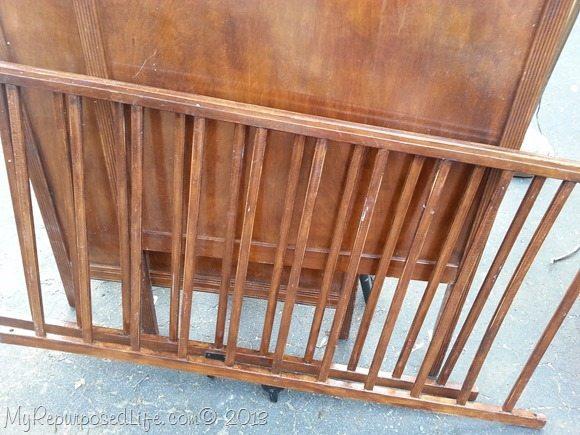 vintage crib rails repurposed