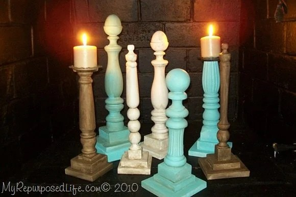 My Repurposed Life shows you how to make candlesticks and more from bed parts, and chair bits and pieces