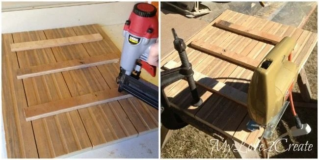Use scrap wood to attach planks