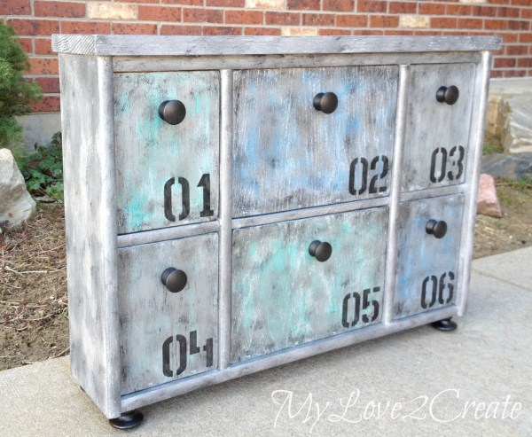 other side faux metal upcycled shelf
