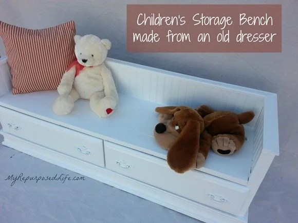cut up an old dresser to make the perfect kid sized bench with storage!