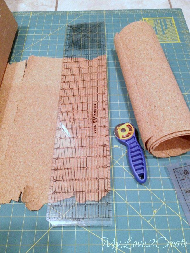 Cutting cork for making cork board