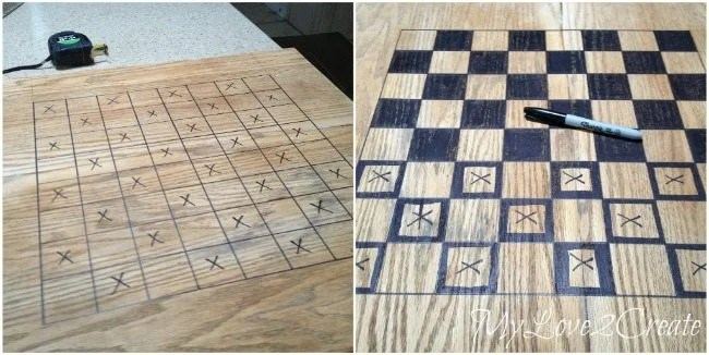 M sharpie marker to make a chess board