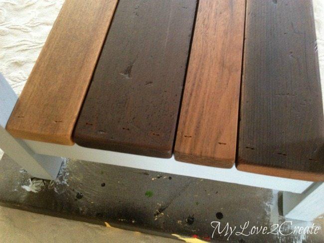nailing on bottom shelf boards