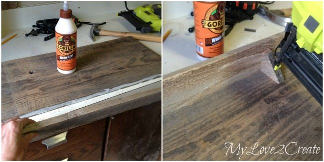 gluing and nailing on top shelf board and shelf supports
