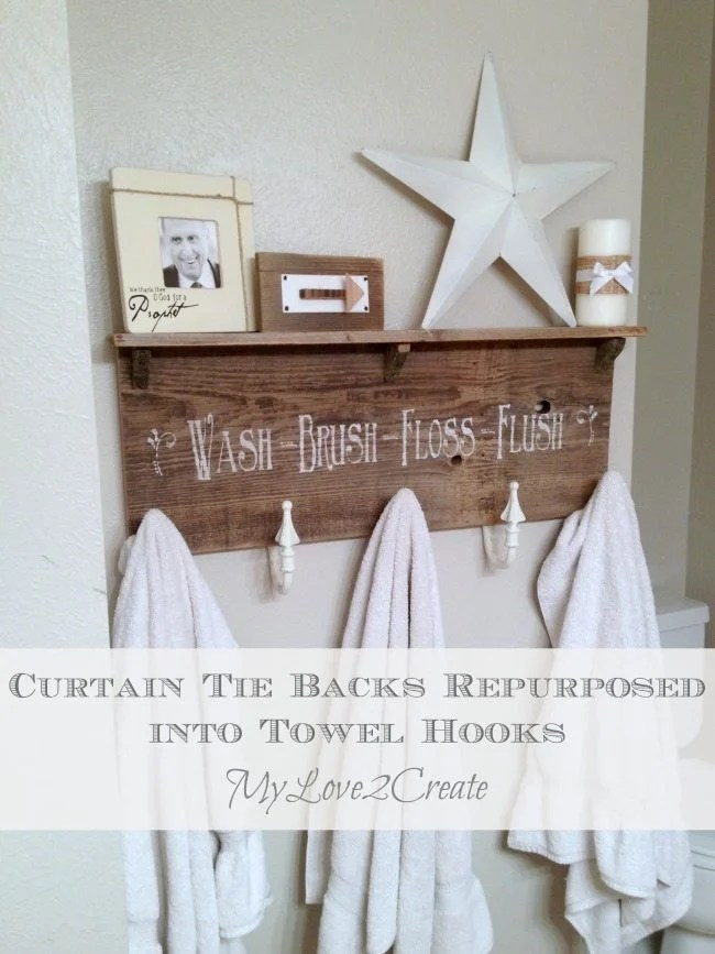 My Love 2 Create will show you how easy it is to use repurposed curtain tie backs to make a great and useful towel hook for your bathroom. Step by step directions #MyRepurposedLife #MyLove2Create #repurposed #reclaimed #wood #coatrack via @repurposedlife