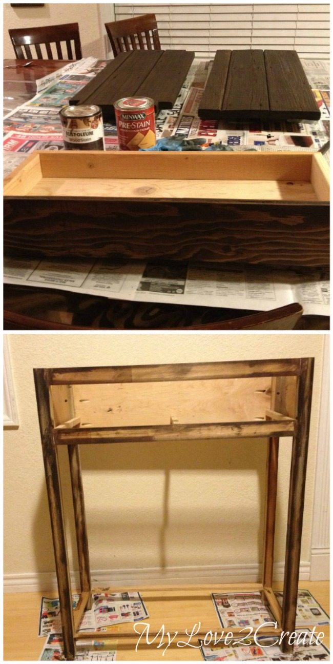 Staining top, bottom shelf, and drawer front of entry table