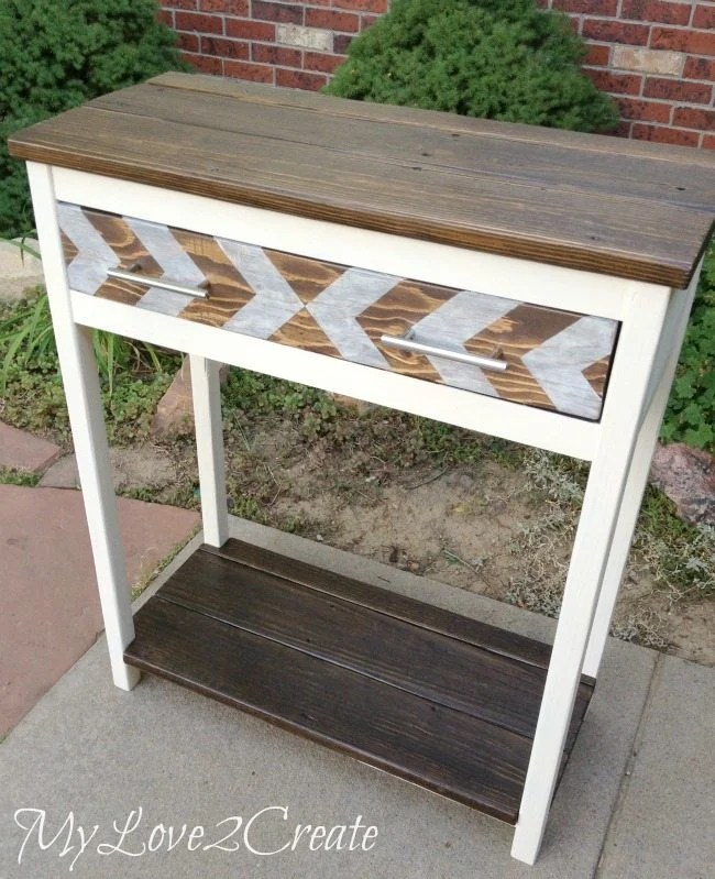 Entry Table made with old deck and scrap wood