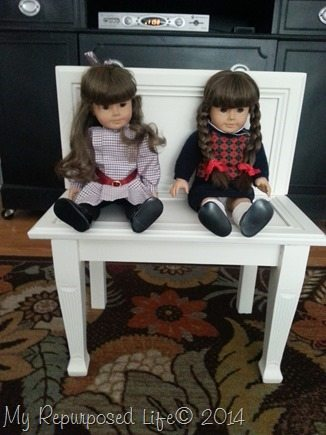 turn old cabinet doors into a doll bench