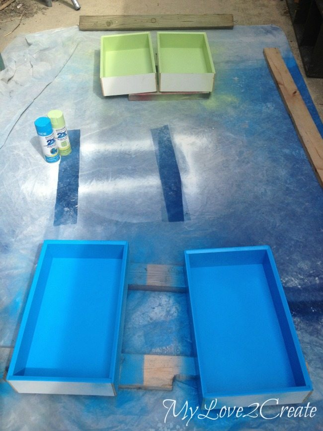 Spray painting insides of drawers
