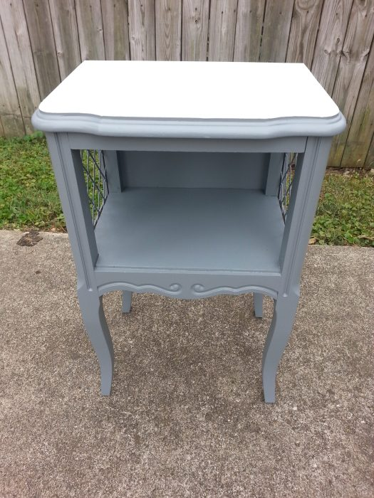 gray painted french provincial side table