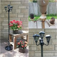Repurposed Floor Lamps make great patio solar lights