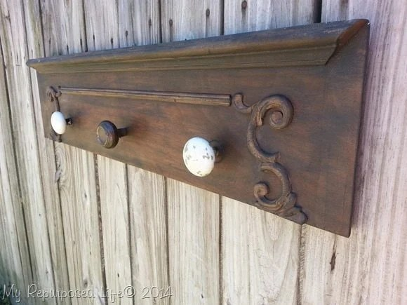 repurposed drawer front hook rack
