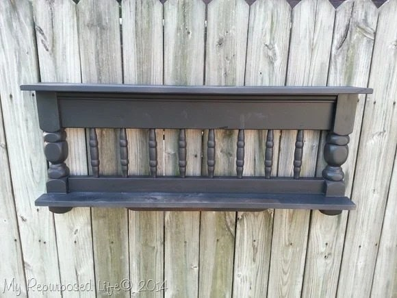 repurposed-bunk-bed-black-shelf-chalk-paint-primer