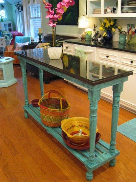 diy-turquoise-kitchen-island