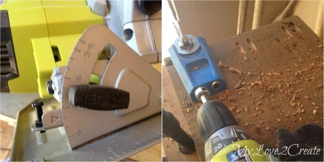 drilling pocket holes on angled wood