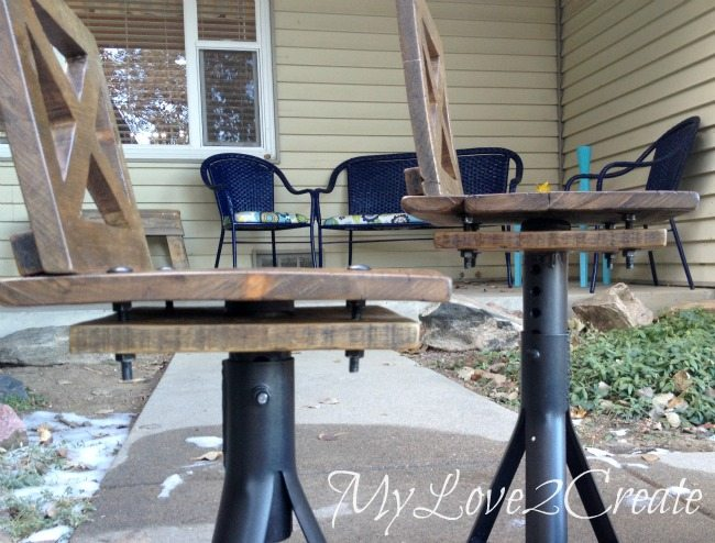 Rustic Industrial kid Chairs from side view