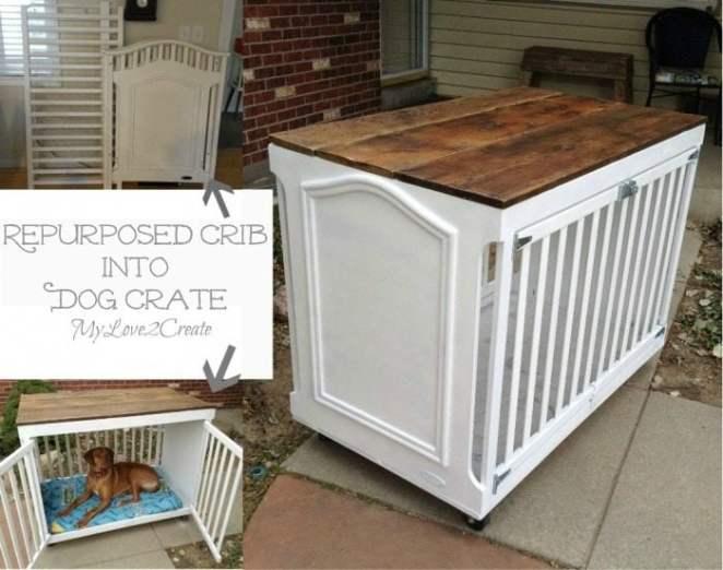 MyLove2Create Repurposed Furniture turning a Crib into a Dog Crate