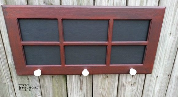 paned cupboard door into chalkboard hook rack