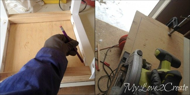 measuring and cutting crate bottom
