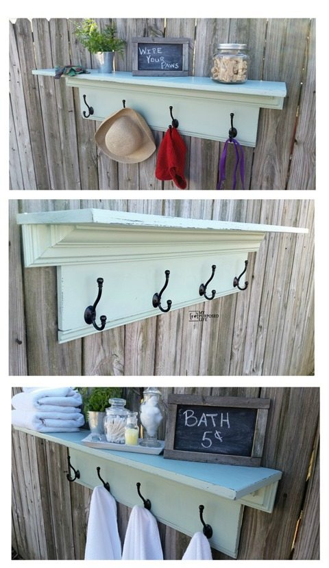Trials and tribulations of how to or how NOT to make a large coat rack shelf. Tips of do's and don'ts about DIY'ing. Tools and hardware you will need. Doing it yourself can be challenging, keeping it real! #MyRepurposedLife #repurposed #coatrack #hooks #shelf via @repurposedlife