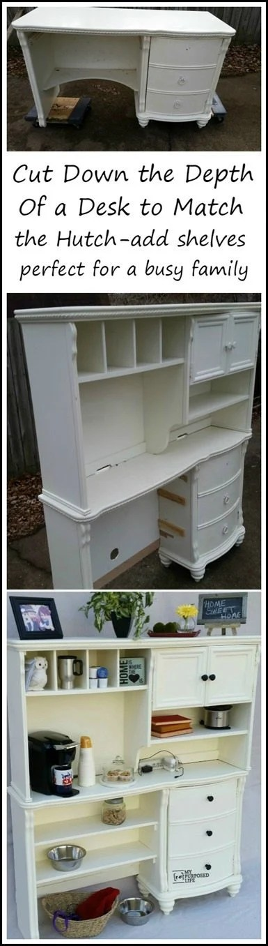 cut down a desk to make a great kitchen storage solution
