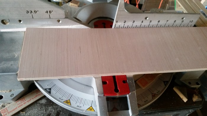 cut plywood on miter saw