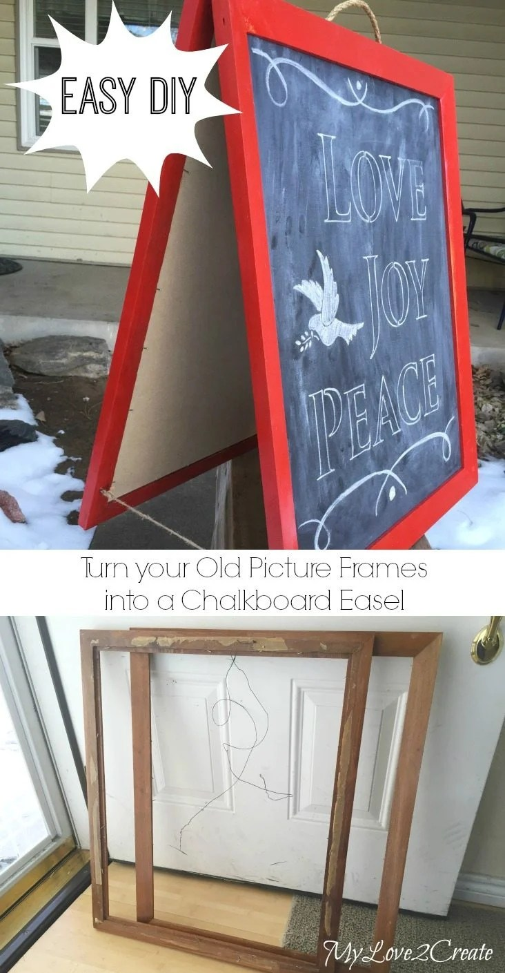 Old picture frame chalkboard easel