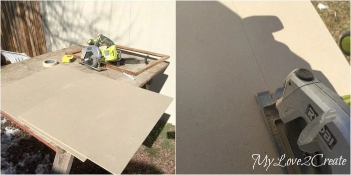 cutting chalkboard panel with circular saw