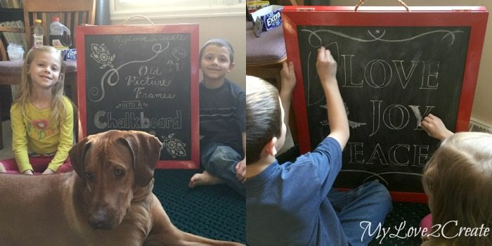 kids using chalkboard easel