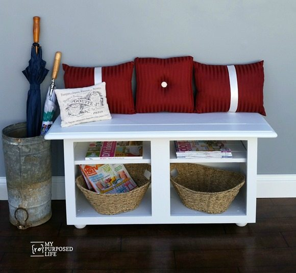 MyRepurposedLife-repurposed-kitchen-cabinet-entryway-bench